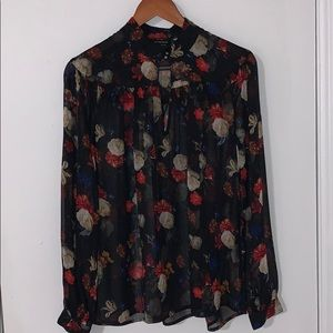 Sheet black floral Lucky Brand blouse